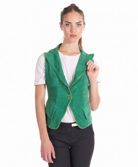 Green suede leather biker vest buttons closure