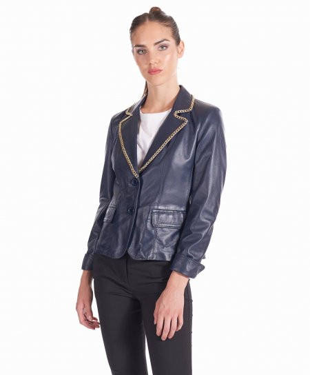 Blue navy leather blazer jacket smooth aspect gold chain