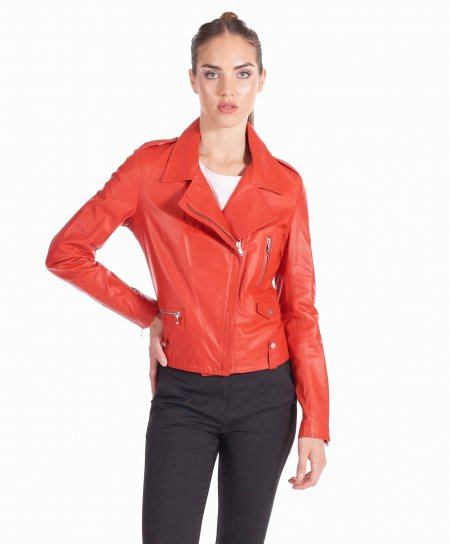 Red nappa lamb leather perfecto jacket