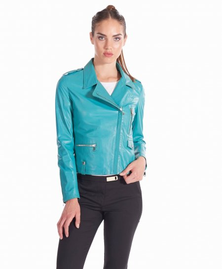 Light blue nappa lamb leather perfecto jacket