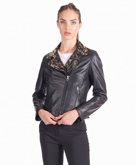 Black lamb leather perfecto paillettes jacket collar