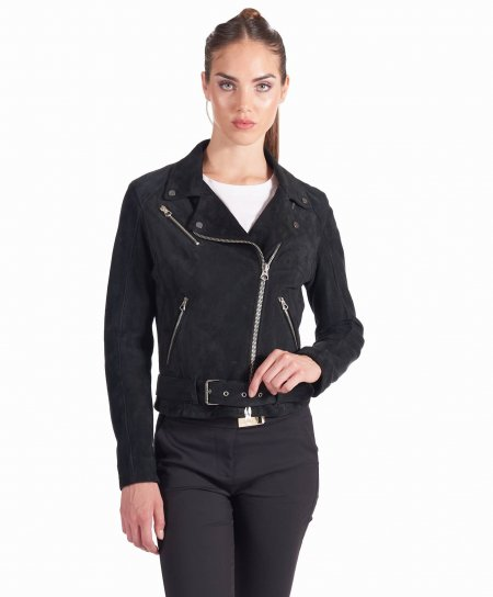 Black belted suede lamb leather perfecto jacket