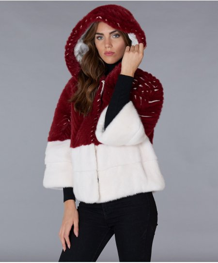 Mink fur jacket with hood and 3/4 sleeve • red colour