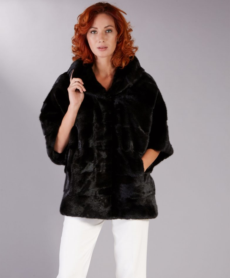 Mink fur hoodie jacket clip closing • black colour