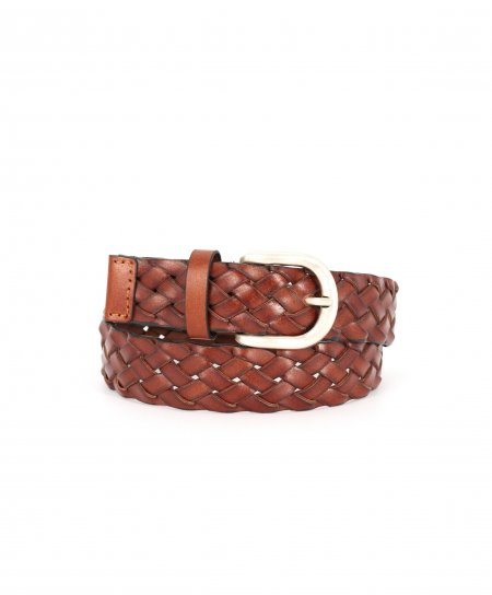 Men's brown calf leather woven belt with silver brass buckle