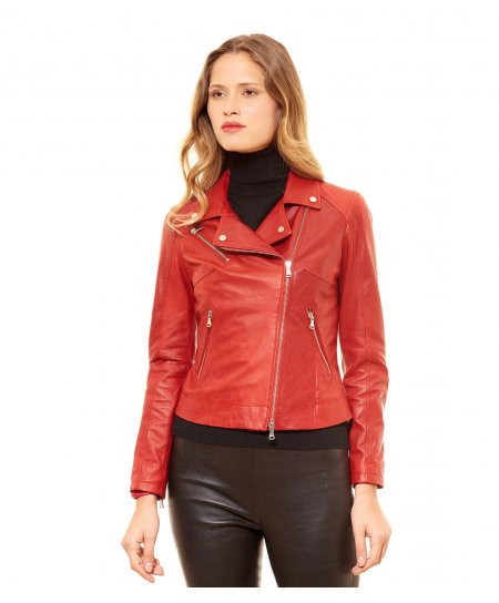 Red pull up lamb leather perfecto jacket cross zipper