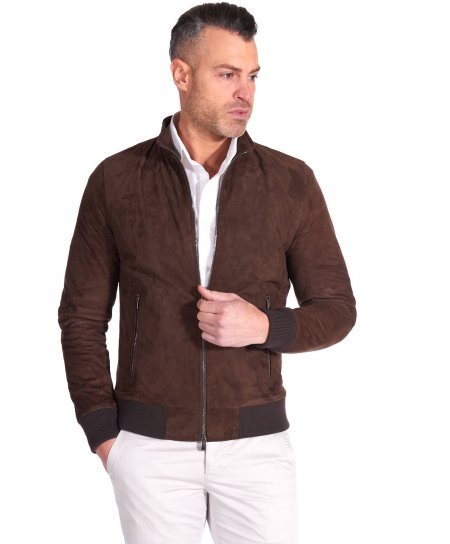 Brown suede lamb leather bomber jacket korean collar