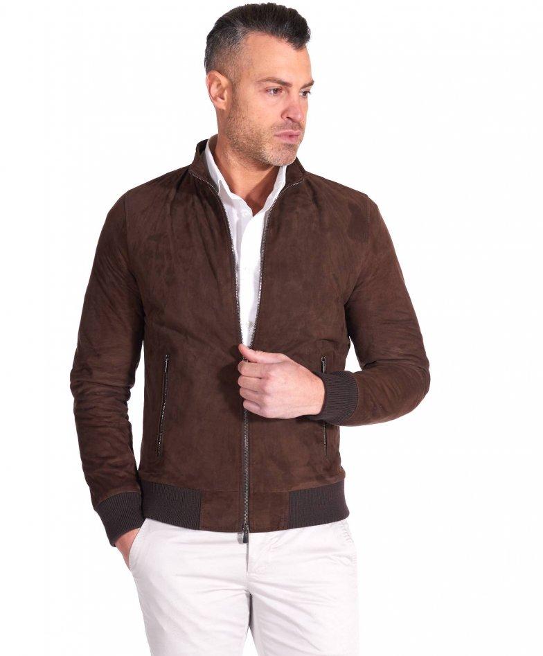 Brown suede lamb leather bomber jacket korean collar