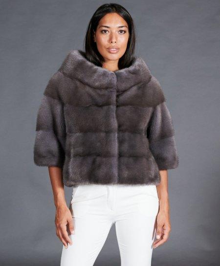 Mink fur jacket wide ring collar • iris blue color