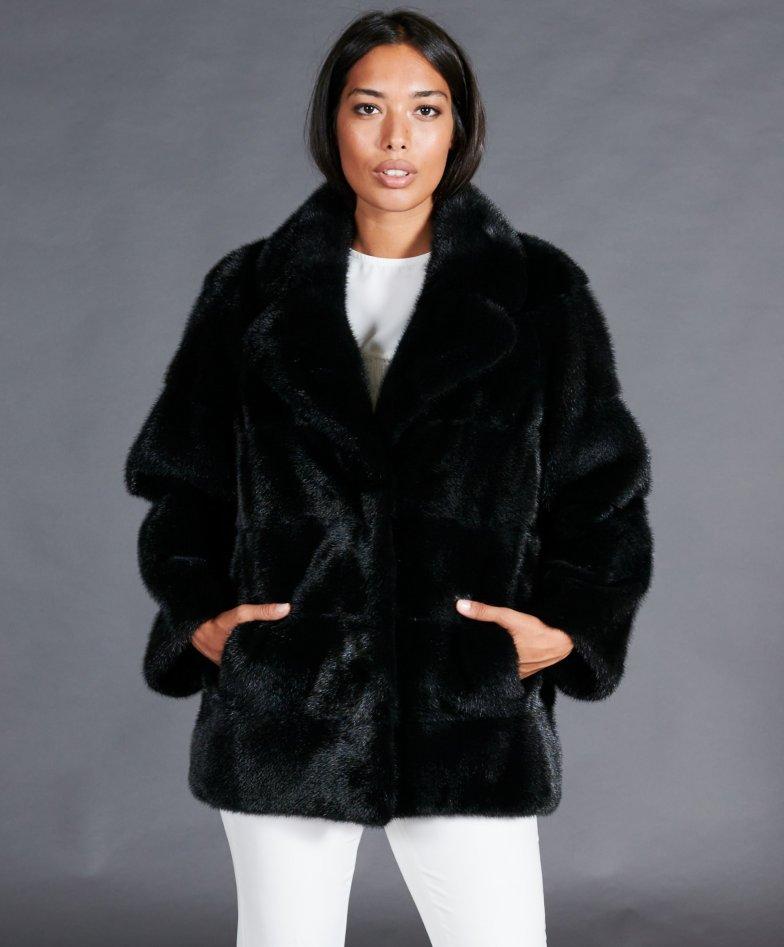 Mink fur jacket clip closing jacket collar • black colour