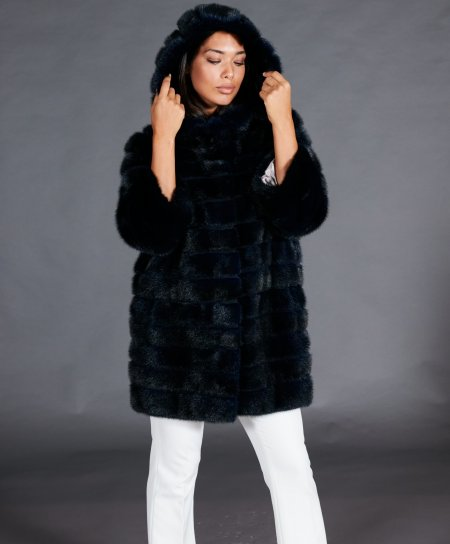 Mink fur coat with hood and 3/4 sleeve • blue navy colour