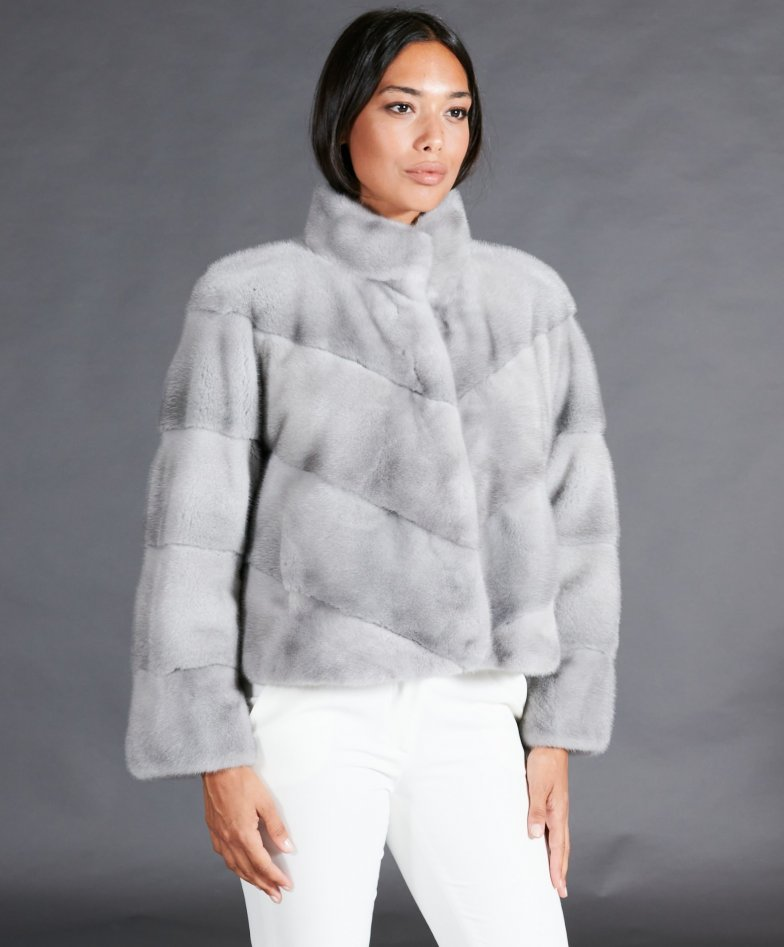Mink fur jacket with ring collar • sapphire color