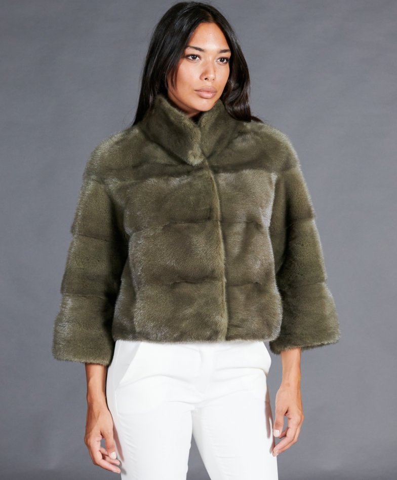 Mink fur jacket reversible in laminated leather • military green color
