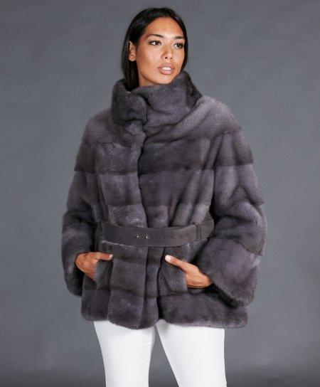 Mink fur belted jacket with long sleeve • silver blue color