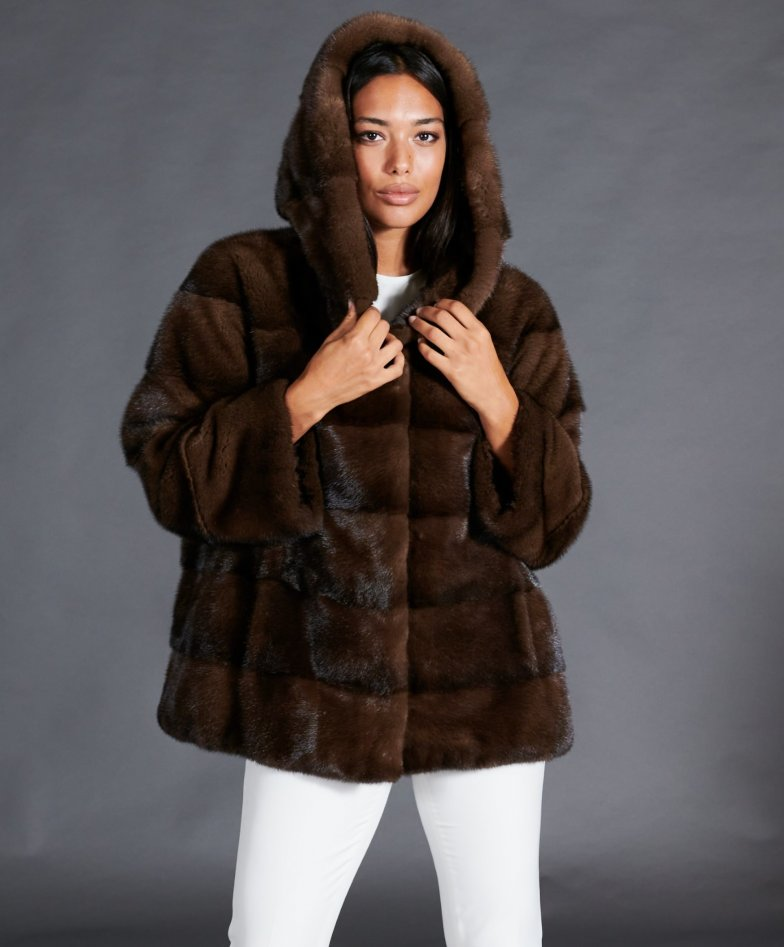 Mink fur hooded jacket with hood • brown color