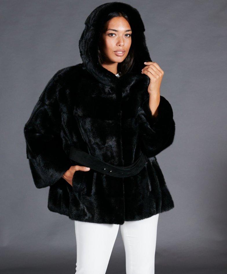 Mink fur belted jacket with hood • black color
