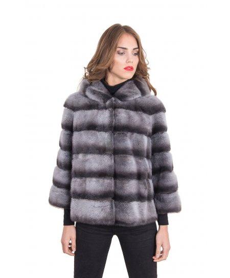 Mink fur hooded jacket • alaska color