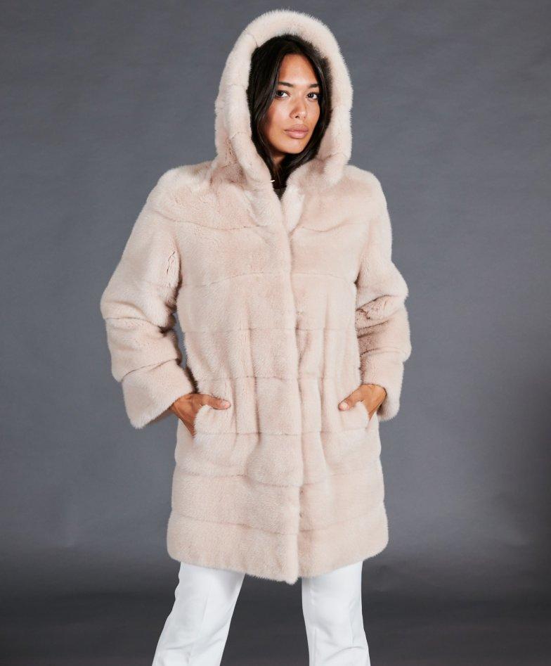 Mink fur coat with wide hood • powder pink color