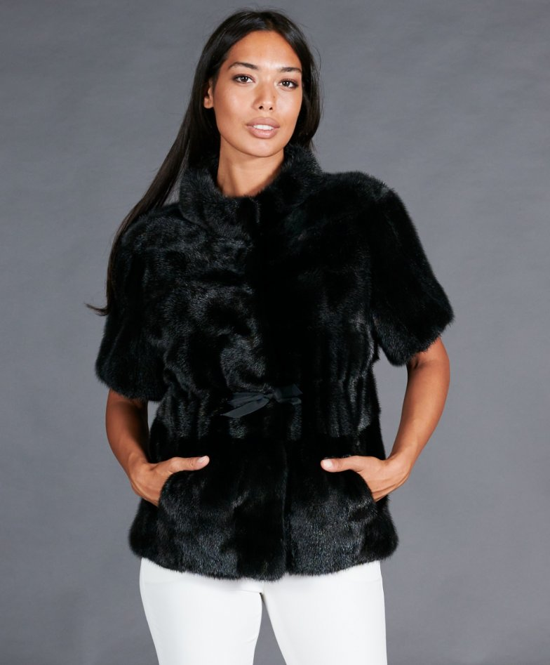 Mink fur jacket short sleeve • black color