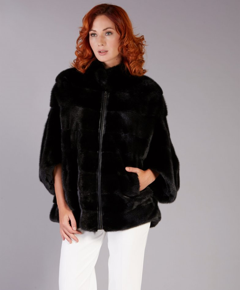 Mink fur jacket cape style with zip closing • black color