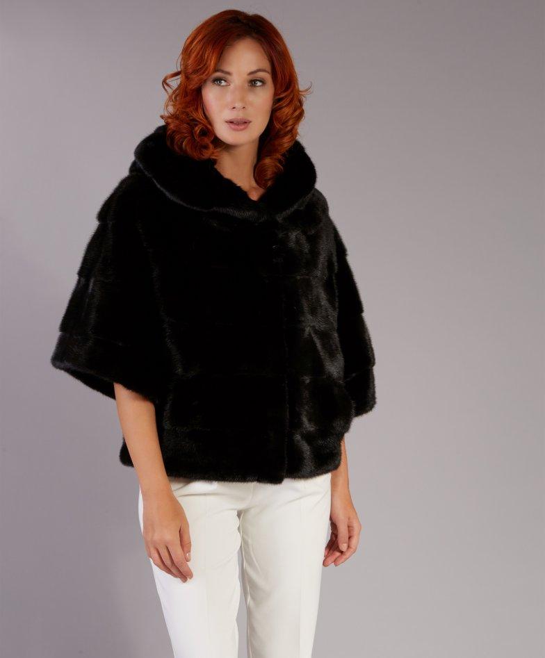 Mink fur jacket cape style with hood • black color