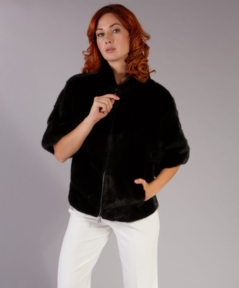 Mink fur jacket ring collar and zip closing • black color