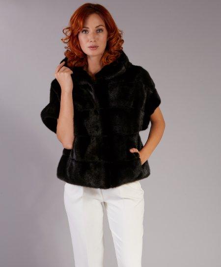 Mink fur jacket short sleeve and hood • black color