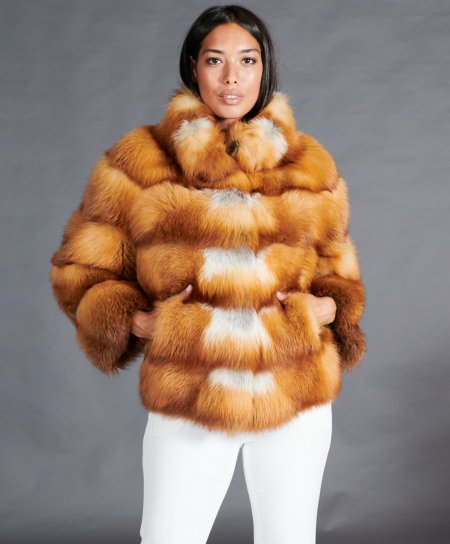 Short fox fur jacket with ring collar • natural color