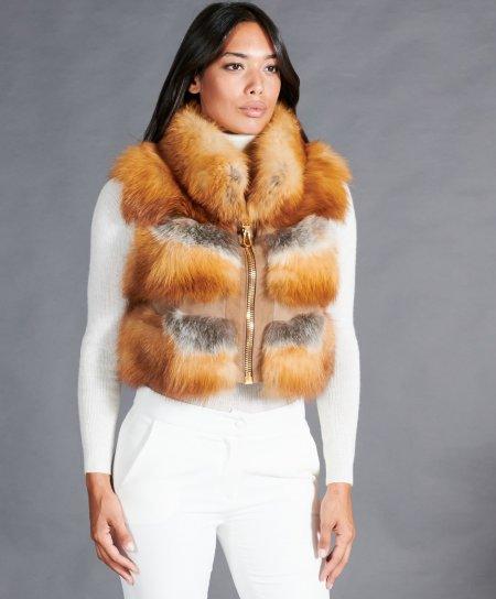Sleeveless fox fur jacket with zipper • honey color