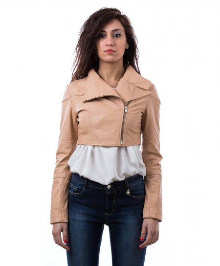 Powder pink nappa lamb leather bolero jacket double reverse