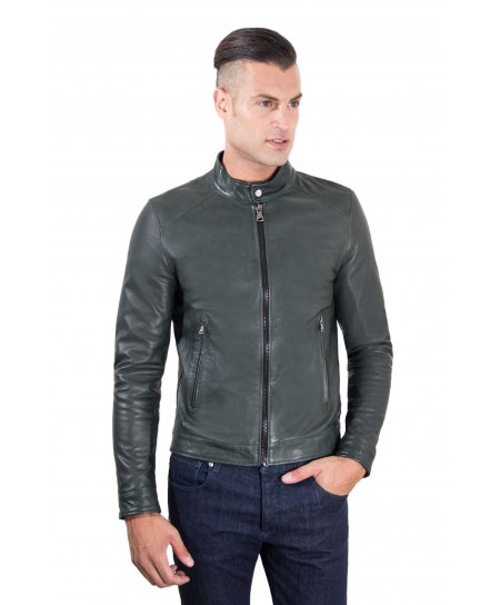 Green lamb leather biker jacket korean collar