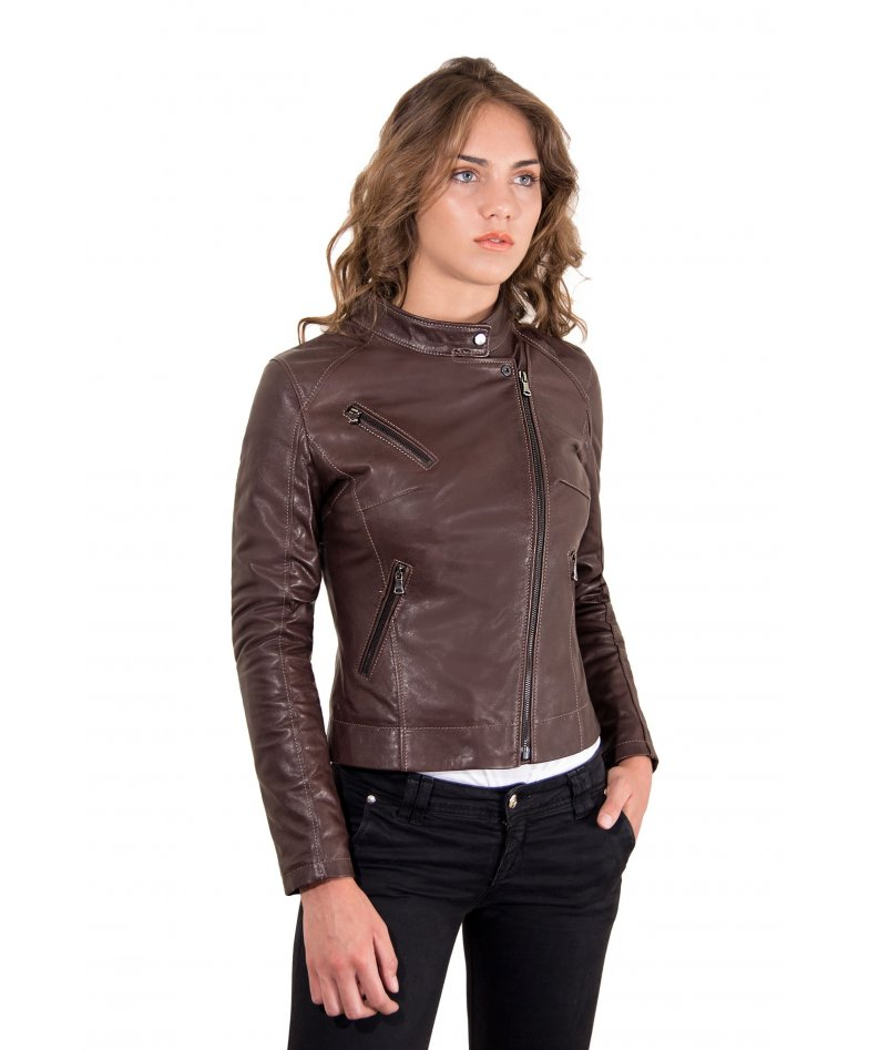 Dark brown lamb leather perfecto jacket korean collar