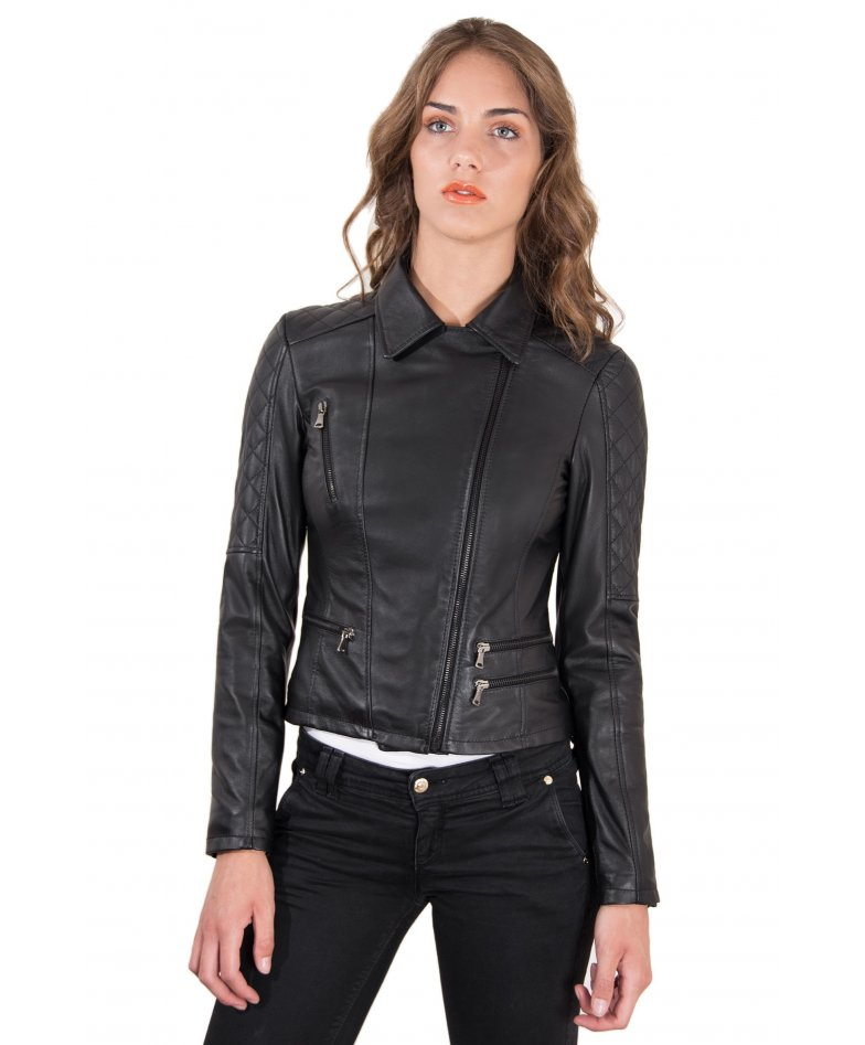 Black quilted nappa lamb leather perfecto jacket four zipper pockets