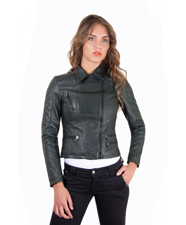 Green quilted lamb leather perfecto jacket four zipper pockets