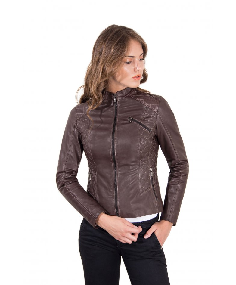 Dark brown quilted lamb leather biker jacket with zipper pockets
