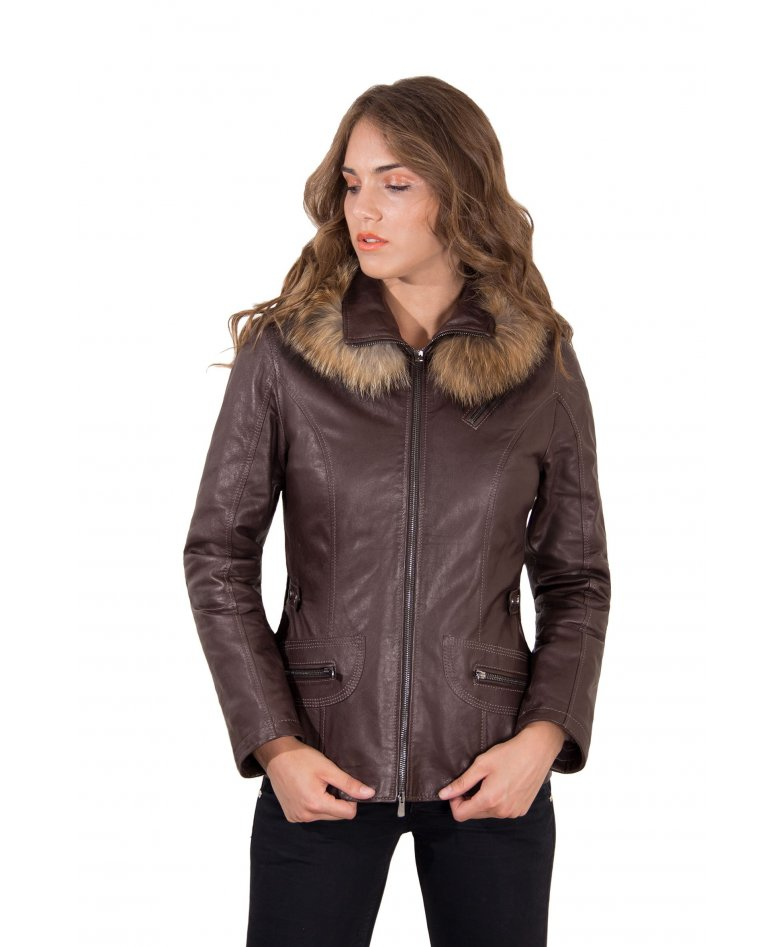 Dark brown hooded lamb leather jacket parka style