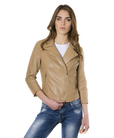 Light brown nappa lamb leather perfecto jacket 3/4 sleeves