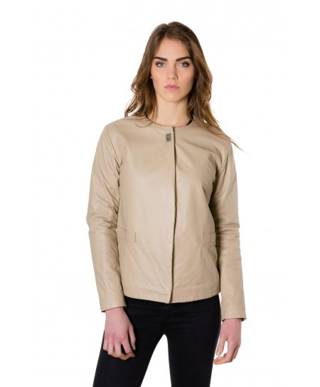 Cream nappa lamb leather jacket