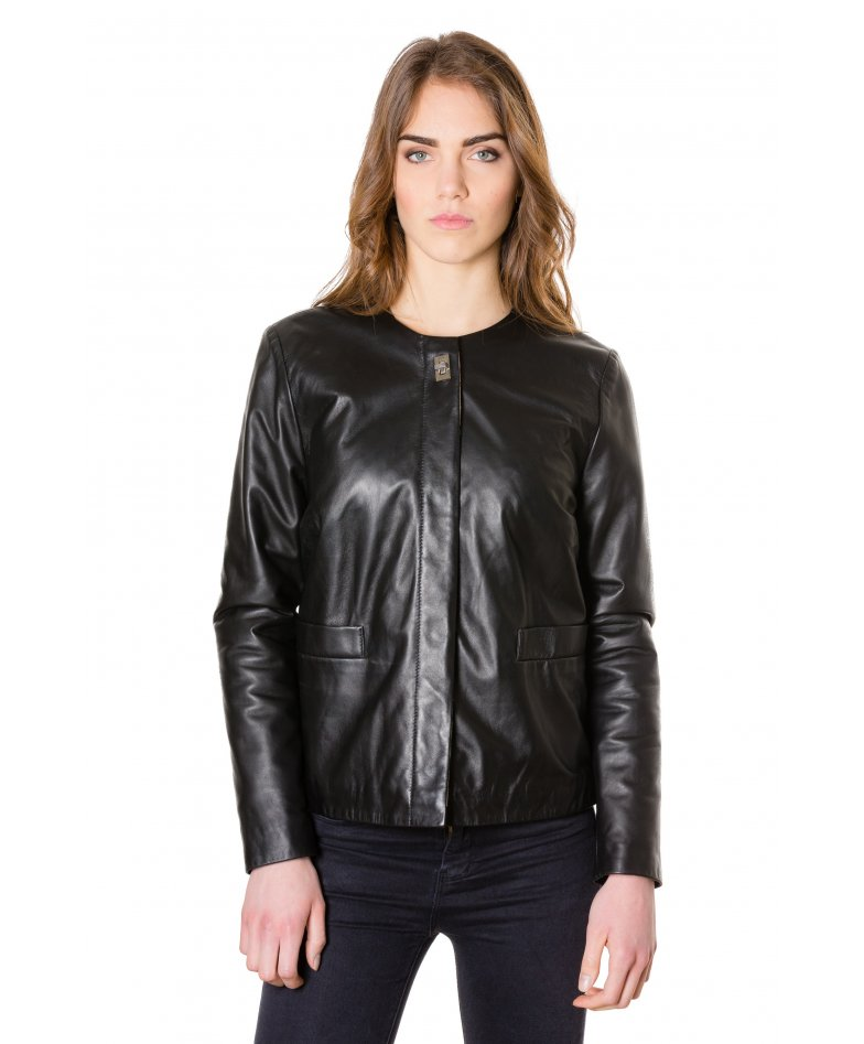 F102 • black colour • woman lamb leather jacket smooth effect