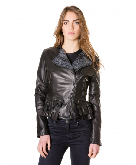 ILARIA WOOL • black colour • nappa lamb leather perfecto jacket smooth aspect