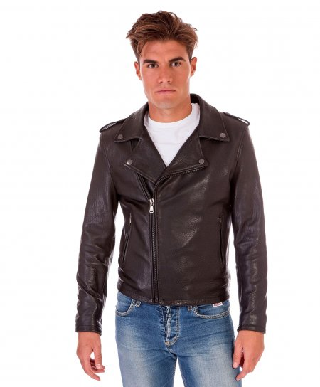 Black wrinkled nappa lamb leather perfecto jacket
