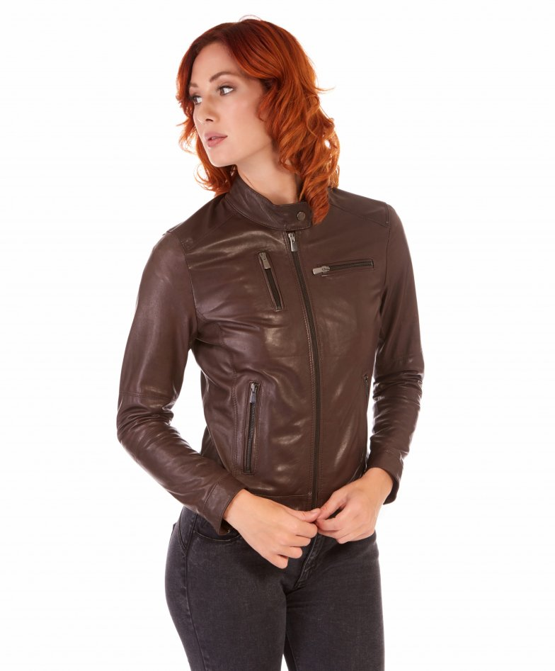 Dark brown lamb leather biker jacket four zipper pockets