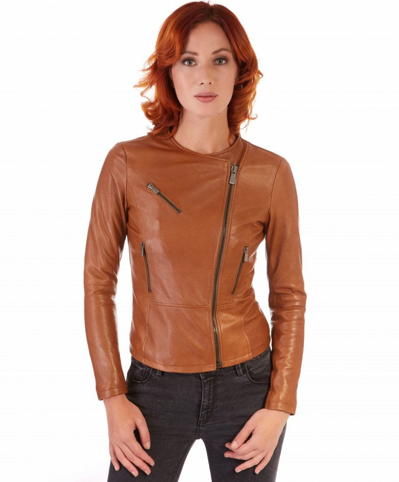 PINKO • tan colour • Nappa lamb leather jacket smooth aspect