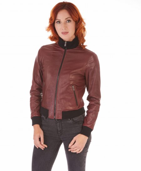 G155 • red purple colour • Lamb leather bomber jacket vintage effect