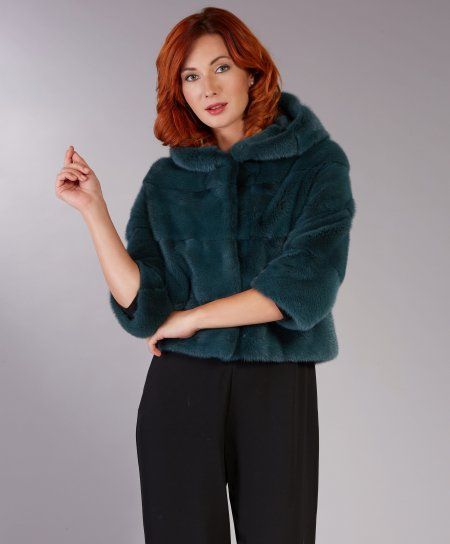 Mink fur jacket with hood • green colour