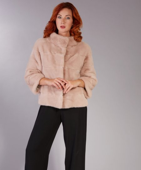 Mink fur jacket sleeve 3/4 ring collar • powder colour