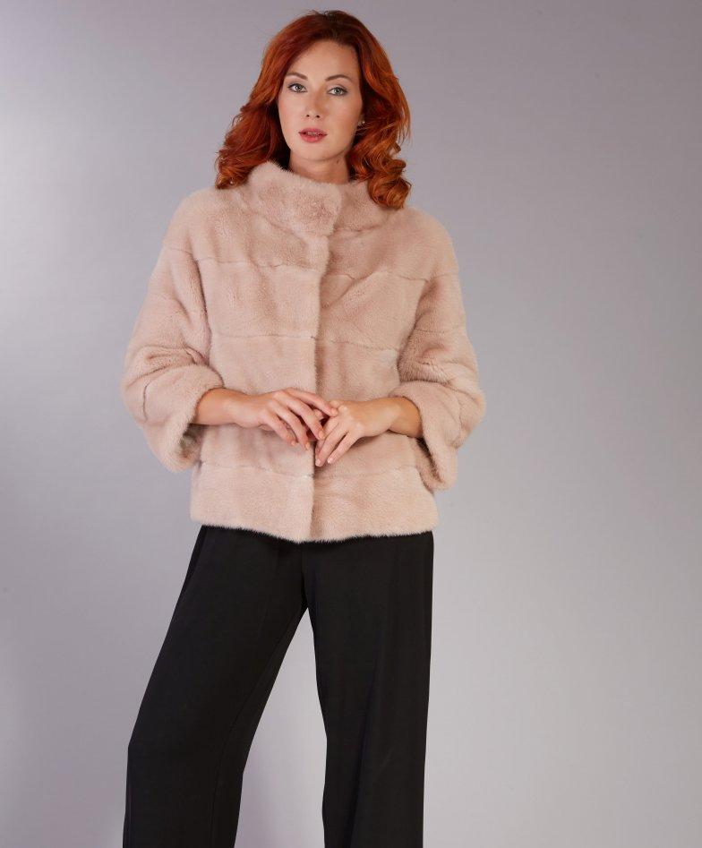 Mink fur jacket sleeve 3/4 ring collar • powder colour