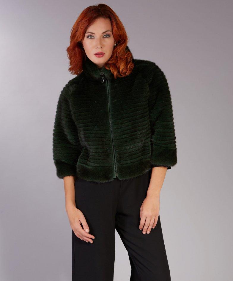 Mink fur jacket sleeve 3/4 ring collar • dark green colour