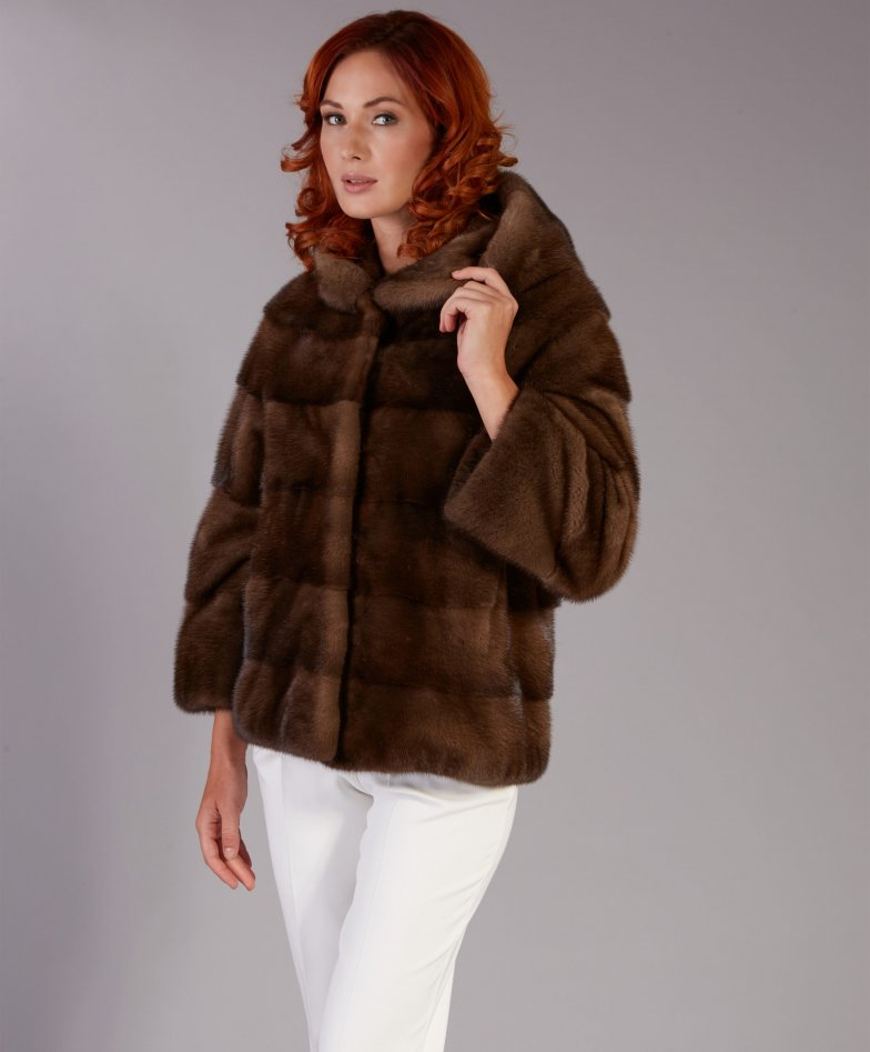 Mink fur jacket long sleeve and hood • brown colour