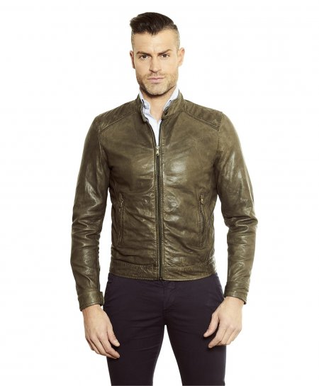 Green washed nappa lamb leather biker jacket korean collar